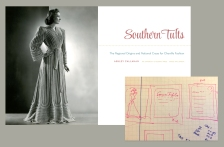 This sketch shows some ideas for the text design of SOUTHERN TUFTS: THE REGIONAL ORIGINS AND NATIONAL CRAZE FOR CHENILLE FASHION, by Ashley Callahan. I wanted to open the book with a photograph showing the glamorous side chenille fashion. The sketch shows an idea I had for using stitching or tufting as a decorative element that developed into a stitched rule that appears throughout the book.